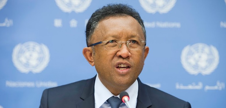 Hery Rajaonarimampianina, President of the Republic of Madagascar, at UN Headquarters in New York © UN Photo/Eskinder Debebe