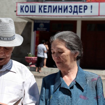 Voters outside a polling station for Kyrgyzstan's constitutional referendum, Bishkek, 27 June 2010 © OSCE/Alimjan Jorobaev