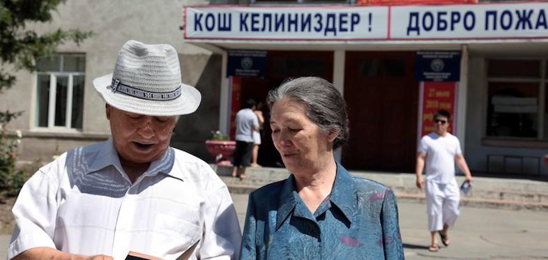 Voters outside a polling station for Kyrgyzstan's constitutional referendum, Bishkek, 27 June 2010 © OSCE/Alimjan Jorobaev