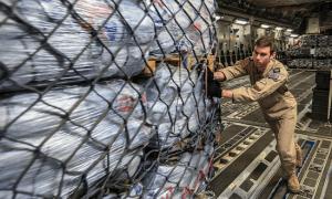 A military plane is unloaded in Kathmundu, Nepal on 29 April 2015 delivering UK aid © Sgt Neil Bryden/RAF (CC BY 2.0)