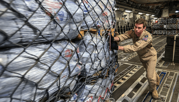 A military plane is unloaded in Kathmundu, Nepal on 29 April 2015 delivering UK aid © Sgt Neil Bryden/RAF (CC BY 2.0)