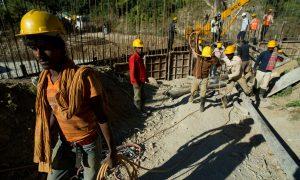 Construction workers in Dagachhu Hydropower Development in Bhutan.