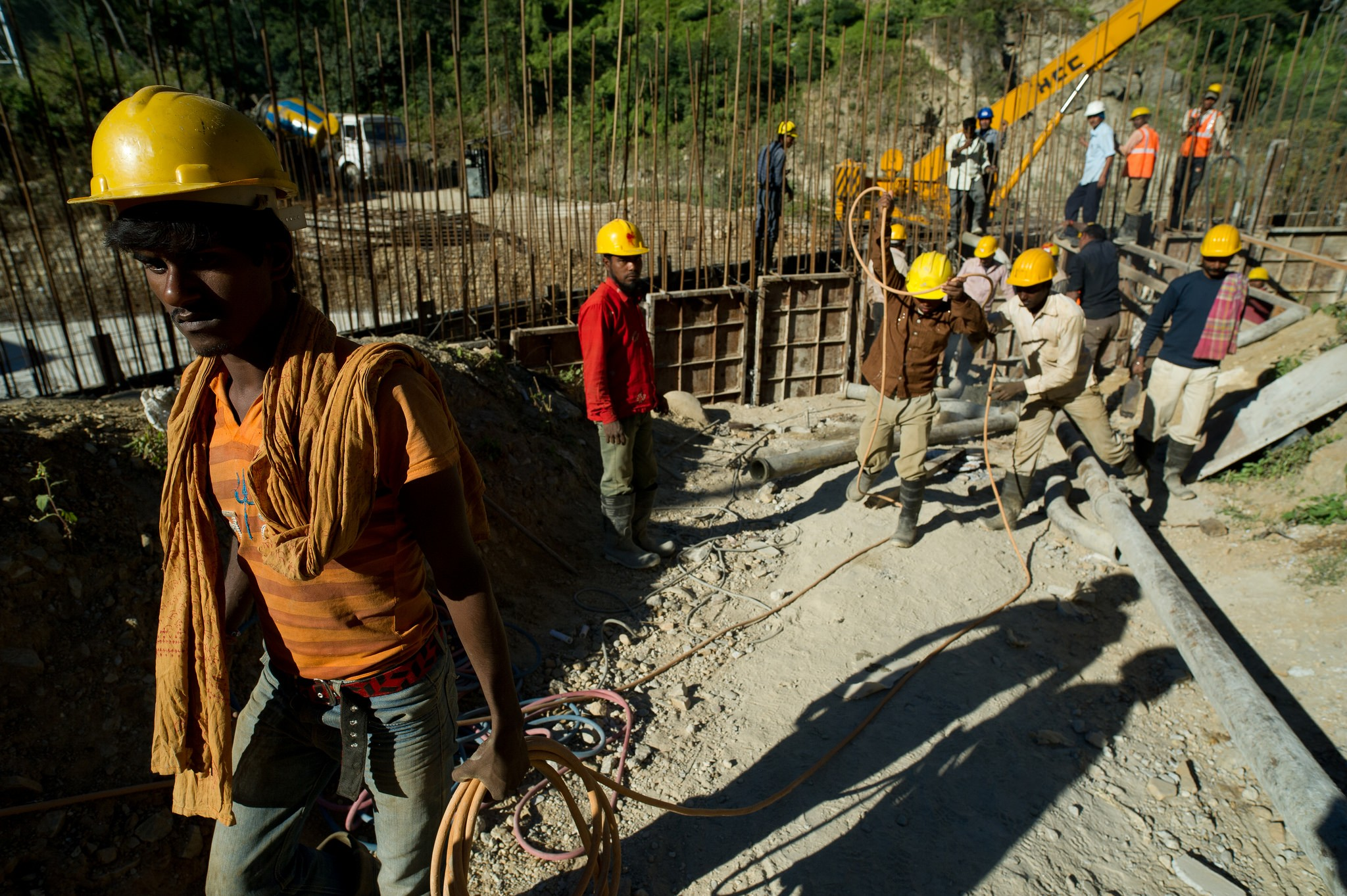 Construction workers in Dagachhu Hydropower Development in Bhutan.