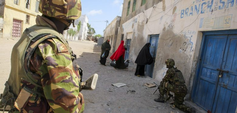 Photo: Soldiers of the Kenyan Contingent serving with the African Union Mission in Somalia in the southern Somali port city of Kismayo.