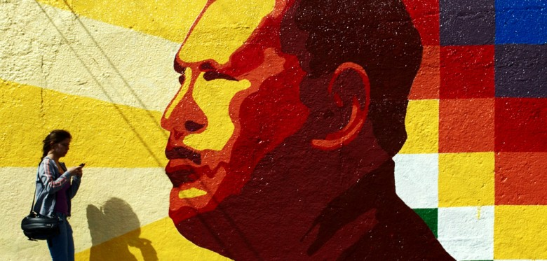 A graffiti showing Hugo Chavez
