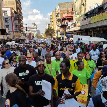 People's March Anti Xenophobia Jeppe street, Johannesburg, outside Little Etheopia