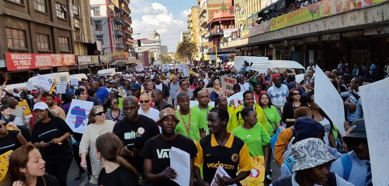 People's March Anti Xenophobia Jeppe street, Johannesburg, outside Little Etheopia