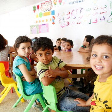 Syrian primary school children attending catch-up learning classes in Lebanon