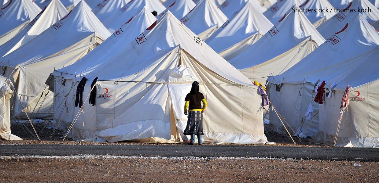 Refugee Camp with lots of tents at the Turkish-Syrian border.