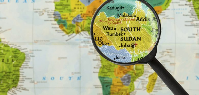 Map of Republic of South Sudan through magnifying glass