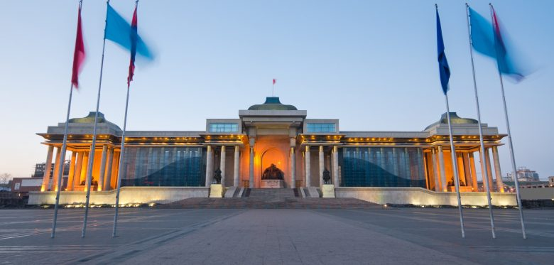 Ulan Bator, Mongolia: in front of the Parliament building, Suhbaata