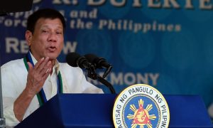 President Rodrigo R. Duterte delivers a speech during the turnover rites of the Armed Forces of the Philippines