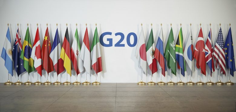 Row of G-20 countries' flags